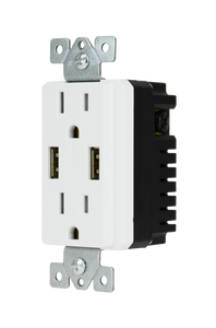 DataComm Décor Duplex 4.0 Amp USB Charger with 15A/125V with Tamper Resistant Outlet