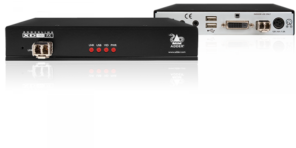 AdderLink XD150FX Dual-Link DVI/USB Single Mode Fibre Optic Extender with US mains lead