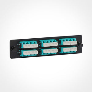 ICC Fiber Optic Adapter Panel, Quad LC, 24F, Aqua, 10G