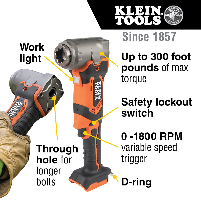 Klein Tools 90-Degree Impact Wrench, Tool Only, BAT20LW