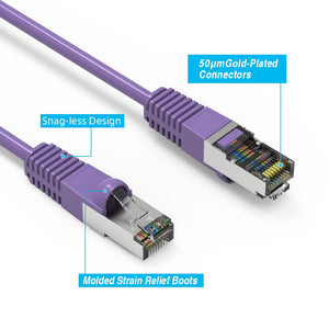 Cat5E Shielded Ethernet Patch Cable, Snagless Boot, Purple Alternate 2