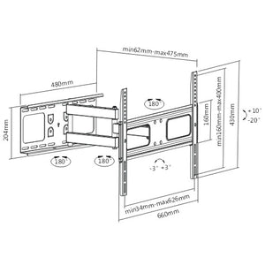 Rhino Brackets Articulating Curved and Flat Panel TV Wall Mount for 37-70 Inch Screens Diagram
