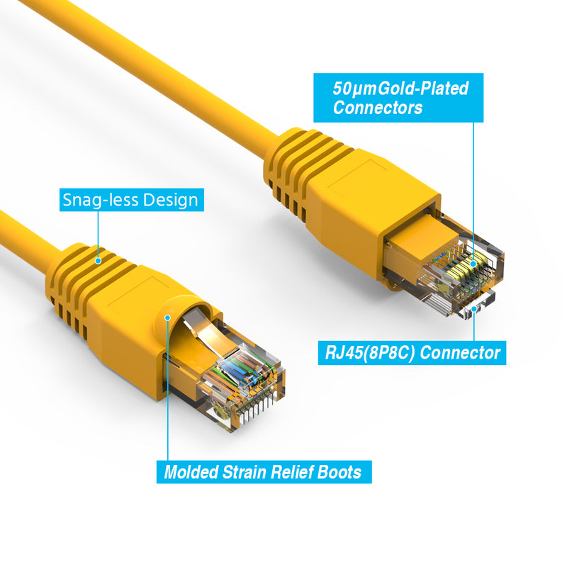 Cat6A Ethernet Patch Cable, Snagless Boot, Yellow
