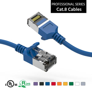 Cat 8 U/FTP Slim Ethernet Network Cable, 30AWG, Blue
