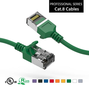 Cat 8 U/FTP Slim Ethernet Network Cable, 30AWG, Green