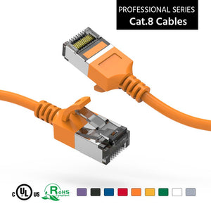 Cat 8 U/FTP Slim Ethernet Network Cable, 30AWG, Orange