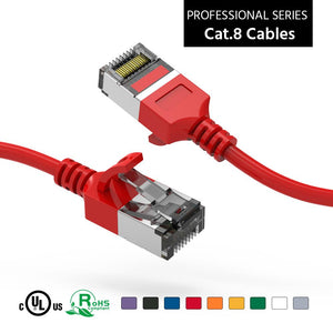 Cat 8 U/FTP Slim Ethernet Network Cable, 30AWG, Red
