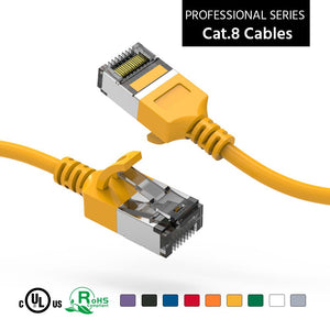 Cat 8 U/FTP Slim Ethernet Network Cable, 30AWG, Yellow