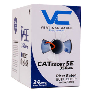 1000ft Solid Cat5E Cable - 24AWG 350MHz CMR Bare Copper Bulk Ethernet