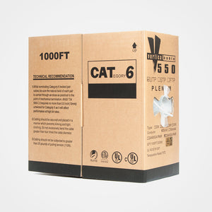 Vertical Cable 1000ft Solid Plenum Cat6 Bulk Cable - white