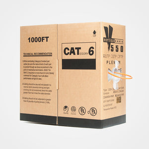 1000ft Solid Plenum Cat6 Cable - 23AWG 550MHz CMP