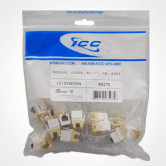 ICC RJ11/14/25 Voice High Density Keystone Jack 25 Pack
