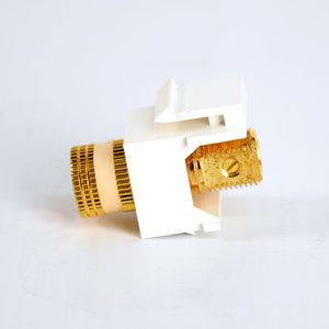Closeup of Screw on White Banana Plug Keystone Jack