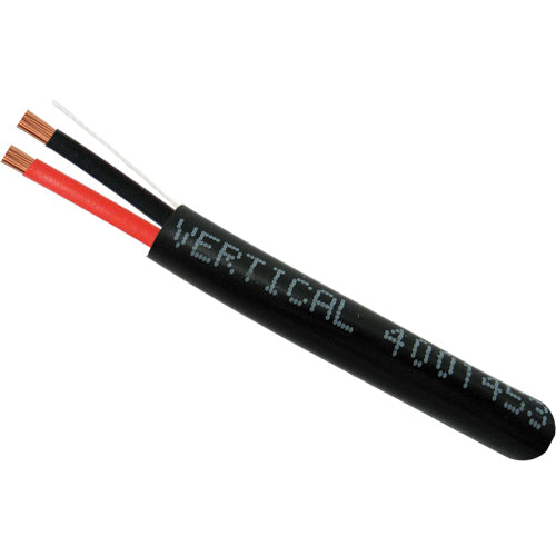 Vertical Cable 500ft 14 Gauge Outdoor Speaker Wire - PVC CL2 14/2, Black