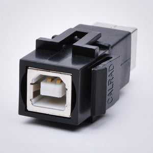 USB Keystone Jack - Type B Female to Female Coupler, Black