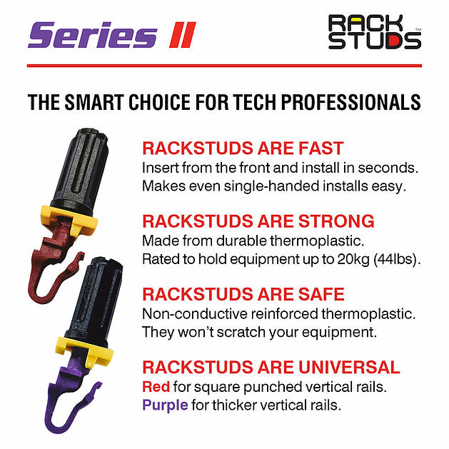"Rackstuds Rack Mount Solution Series II – No More Cage Nuts! The Easiest and Safest Server Rack Solution in 19"" Racks with Square Punched Vertical Rails."