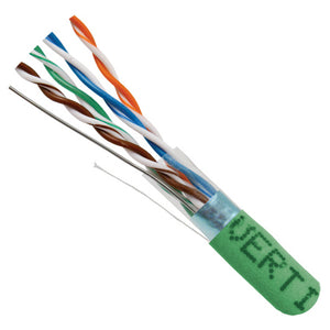 1000ft Solid Shielded Cat5E Cable - 24AWG STP 350MHz CMR, Green Image 2