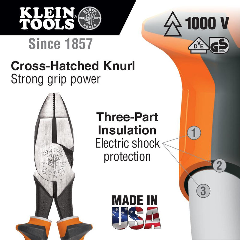 Klein Tools 2000-9NE-EINS Heavy Duty Insulated Side Cutting Pliers