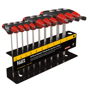 Klein Tools JTH410E SAE T-Handle Hex Key Set, Stand, 4-Inch, 10-Piece