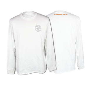 Klein Tools T-Shirt, Long Sleeved, White, Lineman Logo