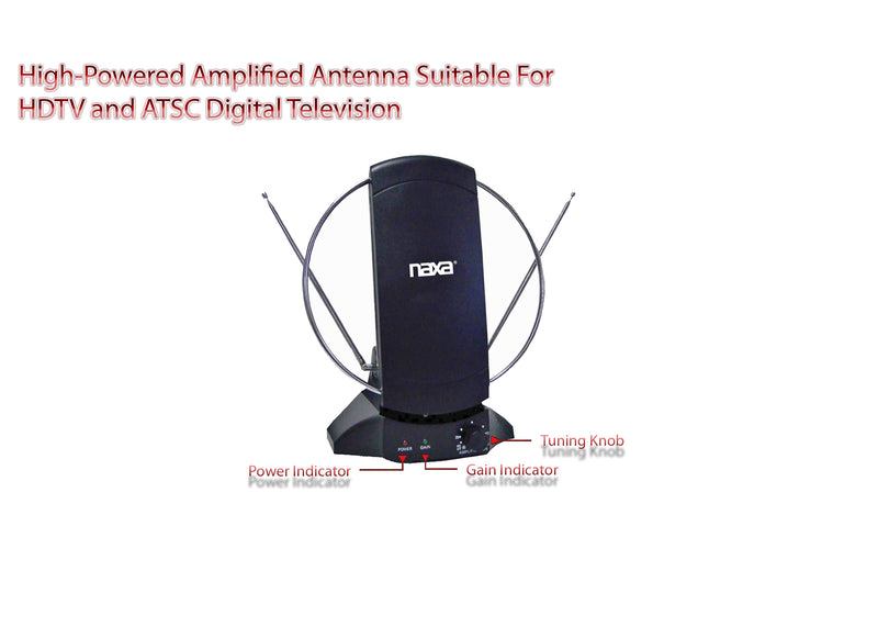 Naxa NAA-308 High-Powered Amplified ATSC/HDTV/FM Indoor Antenna