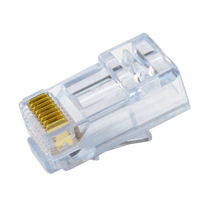 SCP Simply45 RJ45 Pass Through Modular Plugs For 24Awg (Up To 1.05mm) Cat5E And Hncpro UTP Cables, Ul94 V0 For CMP To Cm, LSZH-B2Ca To Eca - 100 Pieces