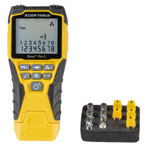 Klein Tools Cable Tester Kit with Scout® Pro 3 Tester, Remotes, Adapter, Battery, VDV501-851