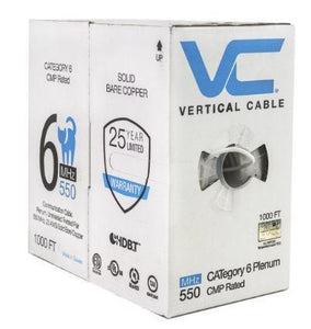 Vertical Cable 1000ft Solid Plenum Cat6 Cable - 23AWG 550MHz CMP