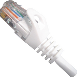 CAT5e Ethernet Patch Cable Snagless White, RJ45, M/M