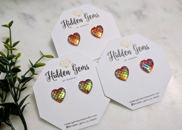 Mermaid scale heart studs - Hidden Gems by Raquel
