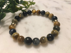 Blue Golden Tiger Eye & Hematite Bracelet
