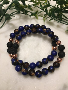 Lapis Blue Impression Jasper and Hematite Diffuser Bracelet - Hidden Gems by Raquel