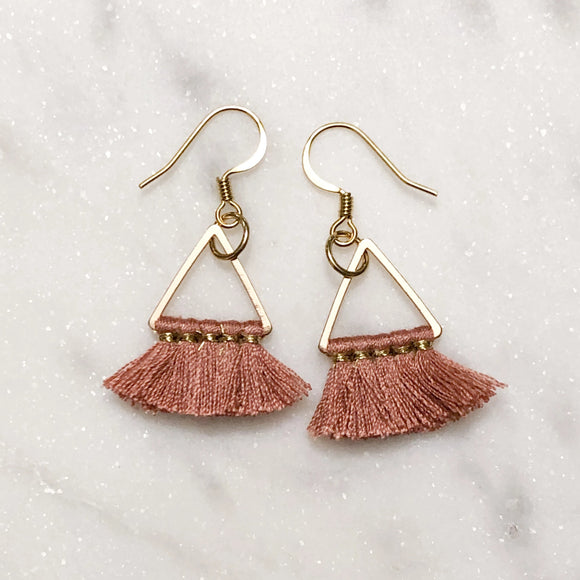 Pink Mini Tassel Earrings