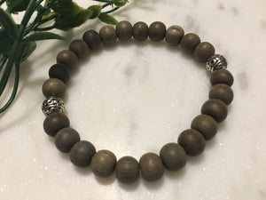 Graywood Bracelet with Silver Beads - Hidden Gems by Raquel