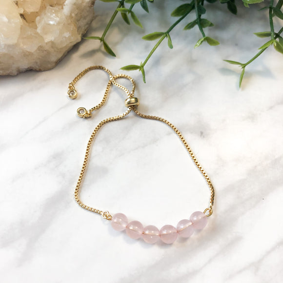 Gold Minimalist Bracelet - Rose Quartz - Hidden Gems by Raquel