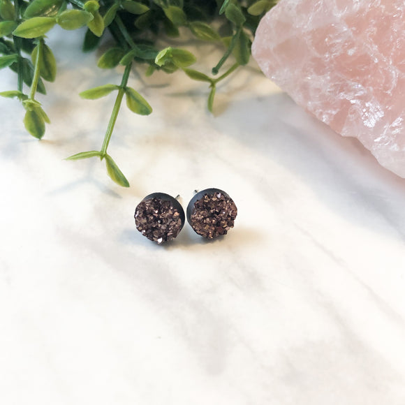 Round Druzy Earrings - Rose Gold
