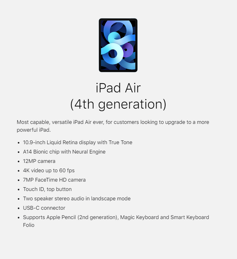 iPad Air 4th Generation