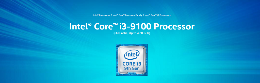 Intel® Core™ i3-9100 Processor 6M Cache, up to 4.20 GHz