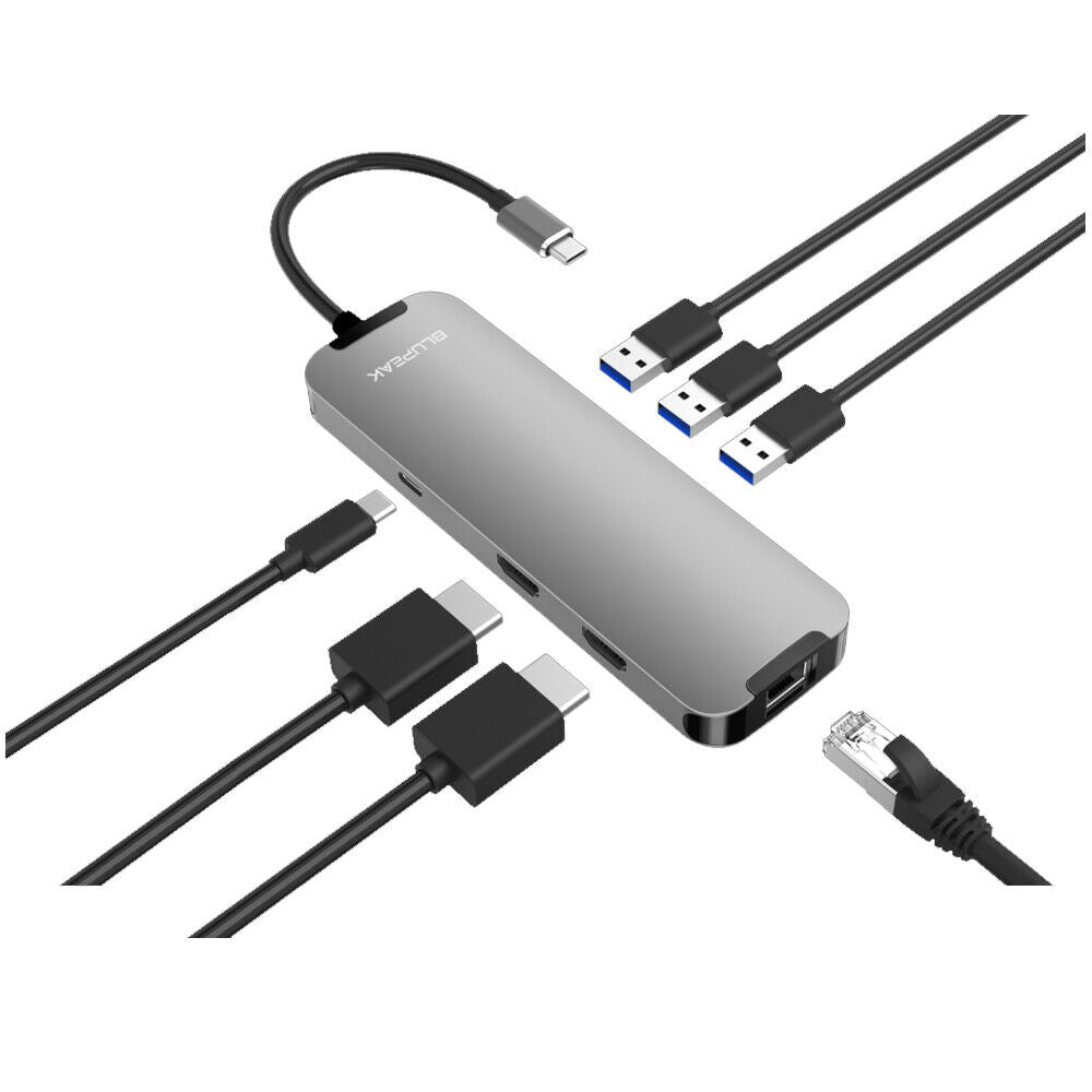 Blupeak USB-C Multi-Port Adapter Dual HDMI/3 x USB-A/RJ45 LAN/USB-C Power
