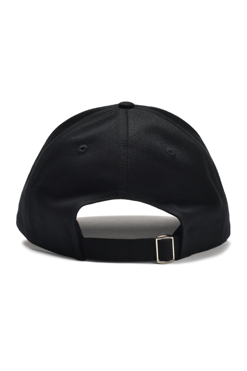 Written Letters Black Logo Cap Back