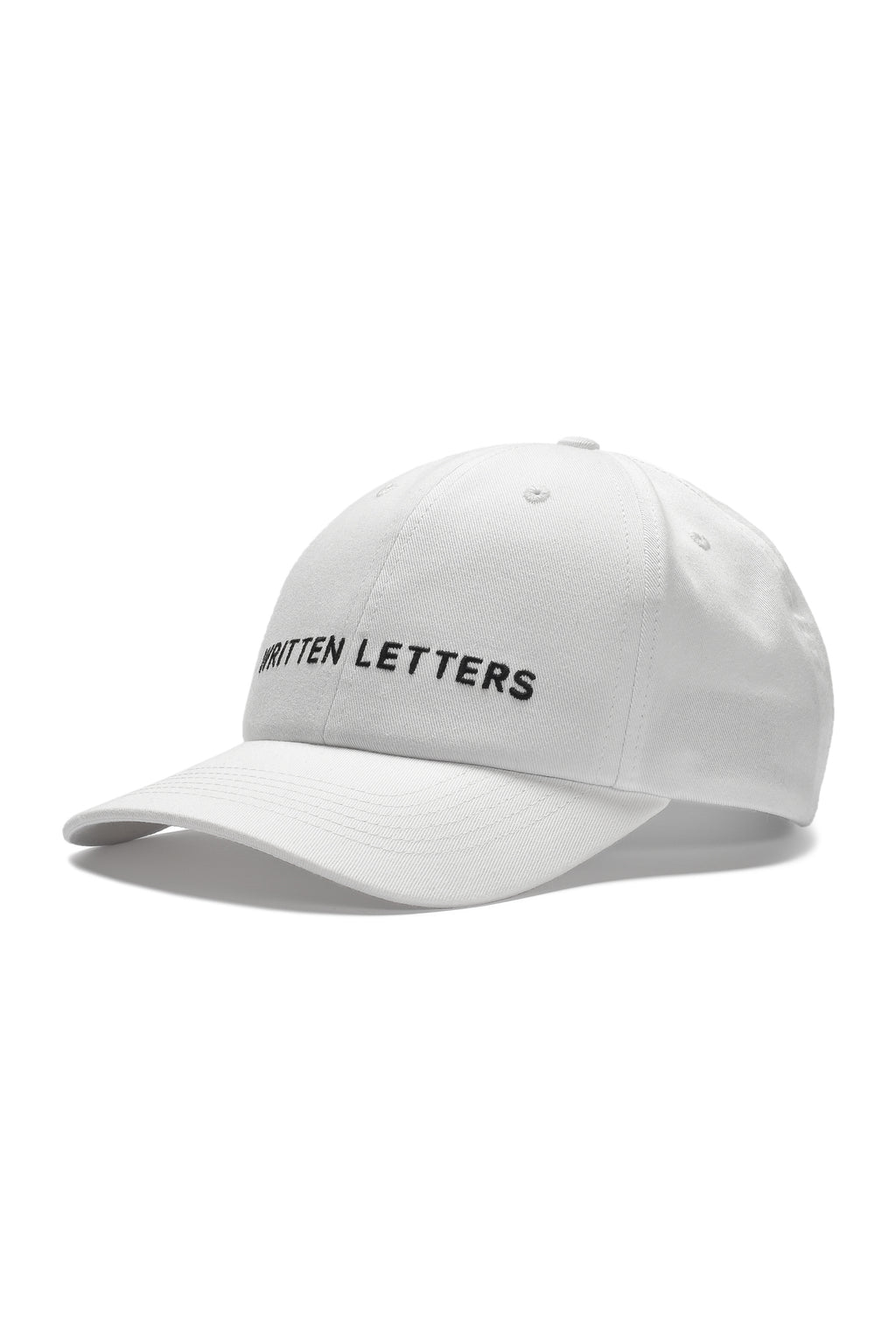Written Letters White Logo Cap Side