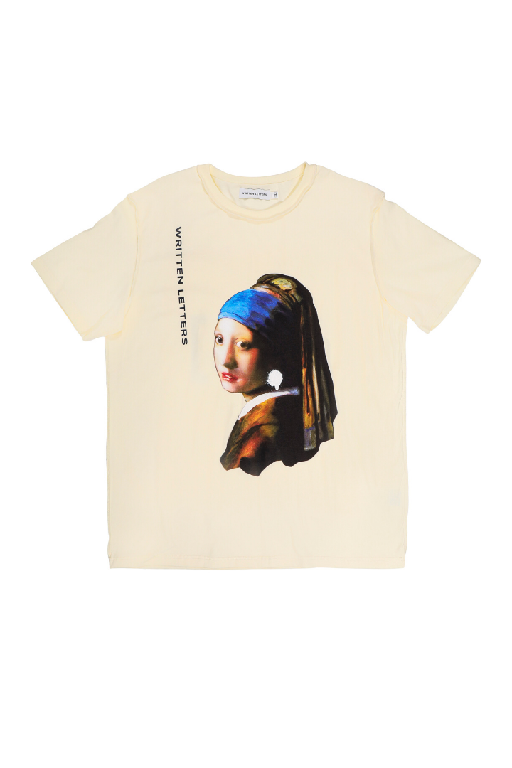 Original 'Girl with a Pearl Earring' Artwork Reproduction Print T-Shirt Beige