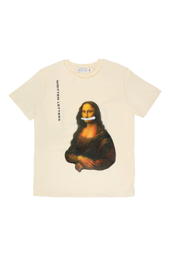 Original 'Mona Lisa' Artwork Reproduction Print T-Shirt Beige