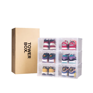 "Tower Box (6 Boxes) Accessories Tower Box 14""(L) x 11""(W) x 7""(H) inches Clear"