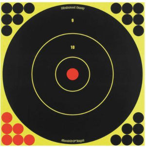 "Birchwood Casey 34012 Shoot-N-C Self-Adhesive Paper 12"" Bullseye Yellow Target Paper w/Black Target & Red Accents 5 Per Pack - Pacific Flyway Supplies"