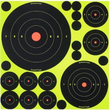 Birchwood Casey 34018 Shoot-N-C Variety Pack Self-Adhesive Paper Bullseye Yellow Target Paper w/Black Target & Red Accents 5 Per Pack