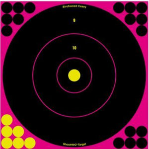 "Birchwood Casey 34027 Shoot-N-C Self-Adhesive Paper 12"" Bullseye Pink Target Paper w/Black Target 5 Per Pack - Pacific Flyway Supplies"