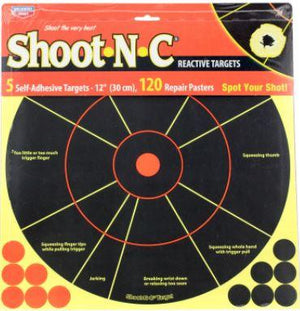 "Birchwood Casey 34032 Shoot-N-C Handgun Trainer Self-Adhesive Paper 12"" Circle Yellow Target Paper w/Black Target & Red Accents 5 Per Pack - Pacific Flyway Supplies"