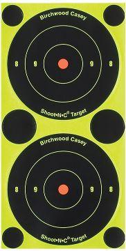 "Birchwood Casey 34375 Shoot-N-C Self-Adhesive Paper 3"" Bullseye Yellow Target Paper w/Black Target & Red Accents 240 Targets - Pacific Flyway Supplies"