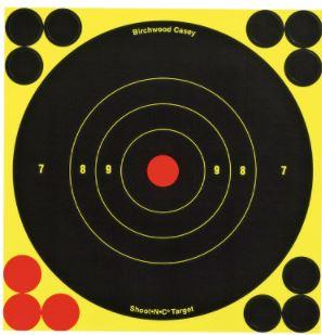 "Birchwood Casey 34512 Shoot-N-C Self-Adhesive Paper 6"" Bullseye Yellow Target Paper w/Black Target & Red Accents 12 Per Pack - Pacific Flyway Supplies"